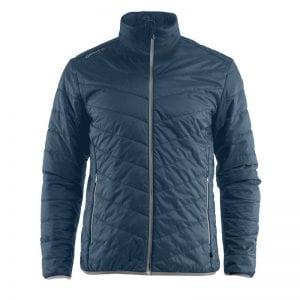 CRAFT Thin Primaloft Jacket, jakke i tyndt materiale der gør den åndbar, lommedetaljer foran. Ducet blå med lyse grå detaljer.