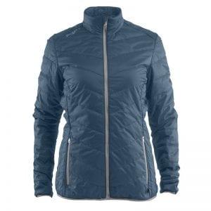 CRAFT Thin Primaloft Jacket, jakke i tyndt materiale der gør den åndbar, lommedetaljer foran. Ducet blå med lyse grå detaljer. Kvindemodel