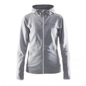 CRAFT Løbejakke til kvinder med lynlåsdetalje og hætte i lækker kvalitet med tilpassede detaljer for entuisiasten, ses her i farven lys grå