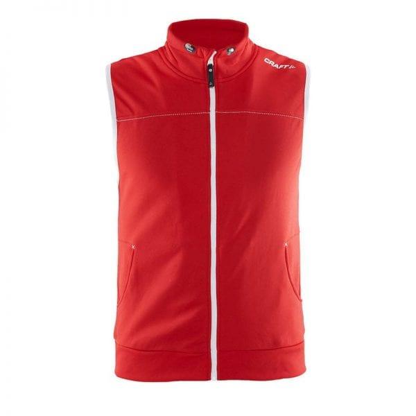 CRAFT Luisure Vest uden ærmer og med lommer og lynlåsdetalje i rød med hvide detaljer