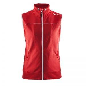 CRAFT Luisure Vest kvinde model uden ærmer og med lommer og lynlåsdetalje i rød med hvide detaljer
