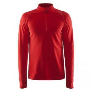 CRAFT Half Zip Micro Fleece, med lynlås i halsen - flexible sports /løbetrøje der holder på varmen. Rød model