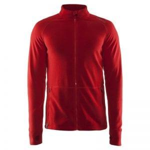 CRAFT Full Zip Fleece Jacket, lækker kvalitetsjakke med lynlåsdetaljer og lommer til den praktiske tid. Rød model.