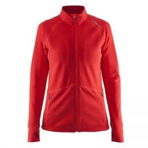 CRAFT Full Zip Fleece Jacket, lækker kvalitetsjakke med lynlåsdetaljer og lommer til den praktiske tid. Rød kvinde model