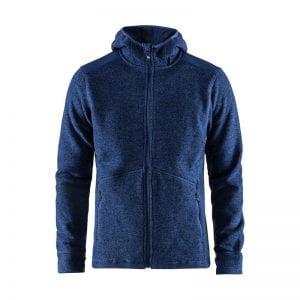 CRAFT Noble Hoodie Jacket, Jakke med detaljer på ærmer og hætte bagpå, lynlåsdetaljer foran og lommer i begge sider. Lækker kvalitet. Kongeblå melange