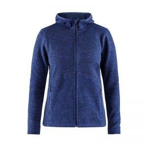 CRAFT Noble Hoodie Jacket, Kvinde jakke med detaljer på ærmer og hætte bagpå, lynlåsdetaljer foran og lommer i begge sider. Lækker kvalitet. Kongeblå melange