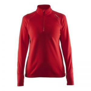 CRAFT Half Zip Micro Fleece, med lynlås i halsen - flexible sports /løbetrøje der holder på varmen. Rød kvinde model