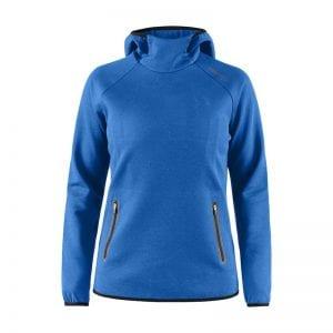 CRAFT Emotion Hoodie Sweatshirt, lækker sweat med lynlåsdetalje foran på lommerne og hætte. kvindemodel kongeblå