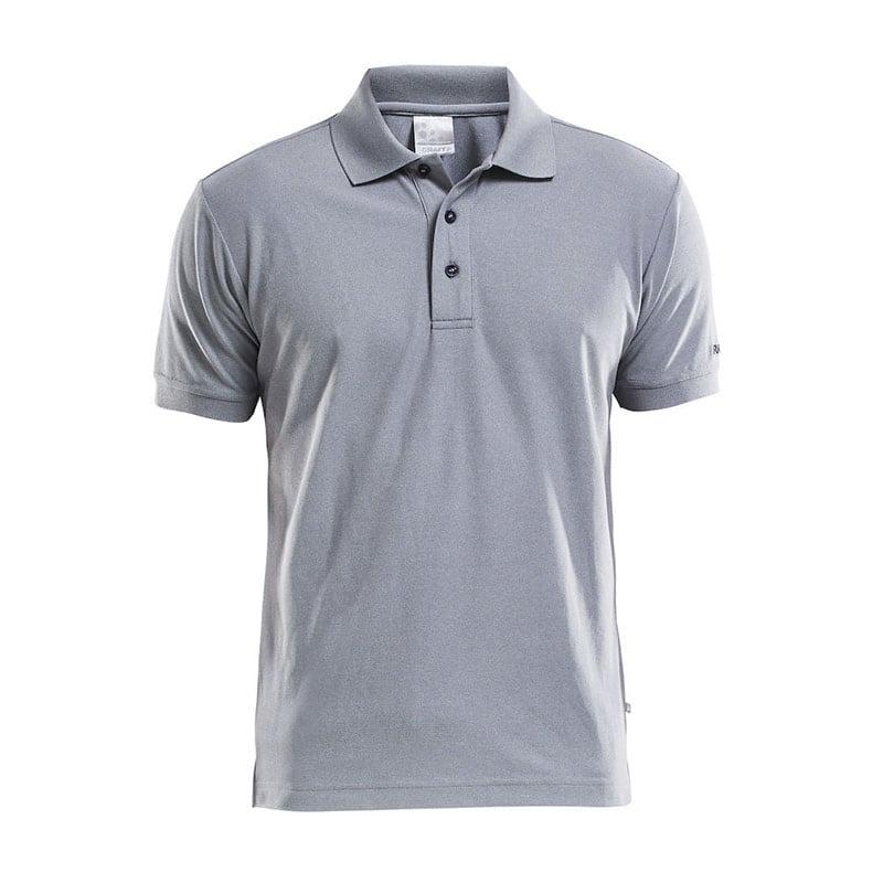 CRAFT Polo Shirt Pique Classic, poloshirt med tre knapper på brystet, detaljer ved ærmerne, semi figursyet. Lys grå melange