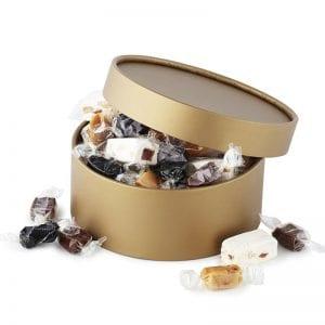 PR chokolade æske, med fransk nougat & karamel mix i guldæske