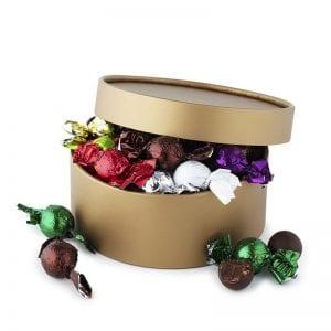 PR chokolade æske, med mix af gourmet chokoladekugler, i guld æske