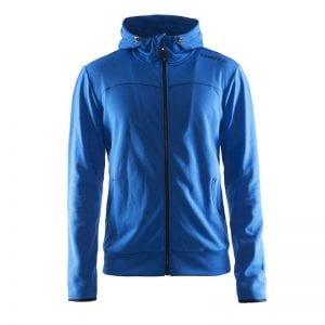 CRAFT Løbejakke med lynlåsdetalje og hætte i lækker kvalitet med tilpassede detaljer for entuisiasten, ses her i farven blå