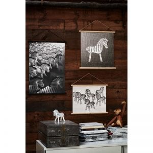Kay Nojesen zebra plakater zebra træfigur og abe teaktræ og malet bøgetræ