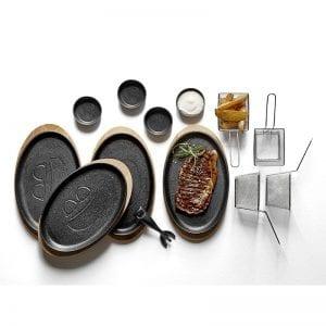 Steak på støbejern gavepakke. Funktion friturenet bitz ramekiner HOLM tallerkener i støbejern og HOLM håndtag i støbejern