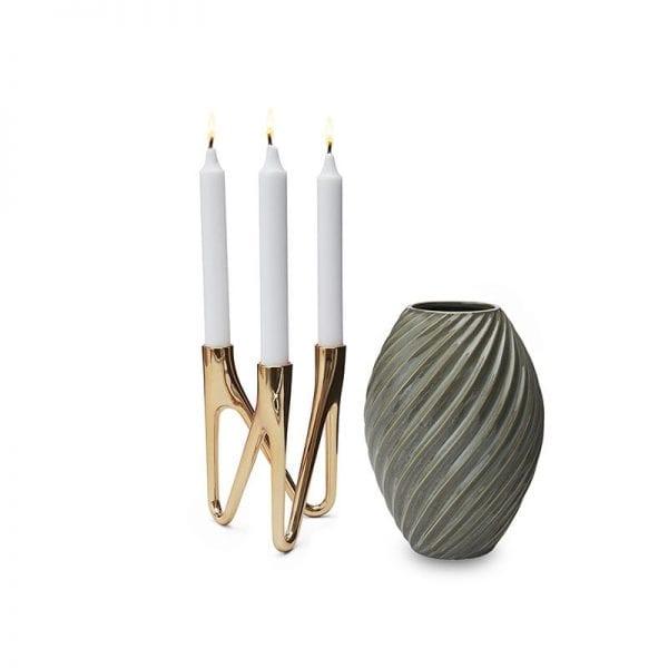 Roots & river Morsø lysestage i messing og vase i 21cm gråblå