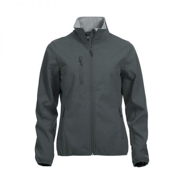 Højkvalitets sotfshell jakke til damer fra Clique m. 3 yderlommer & 2 inderlommer. samt lynlås - ses her i farven grå