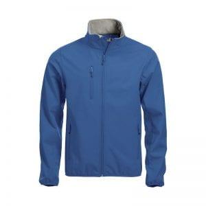 Højkvalitets sotfshell jakke til herre fra Clique m. 3 yderlommer & 2 inderlommer. samt lynlås - ses her i farven blå
