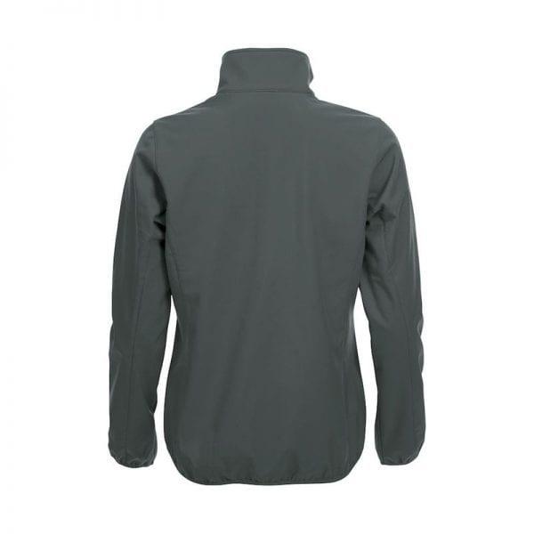 Højkvalitets sotfshell jakke til damer fra Clique m. 3 yderlommer & 2 inderlommer. samt lynlås - ses her bagfra i farven grå