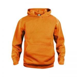 Basic junior hoody trøje - lækker, slidstærk trøje med frontlommer. Ses her i farven orange
