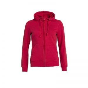 Basic dame fullzip hoody fra CLIQUE - blød kvalitet med lommer foran. Ses her i farven rød