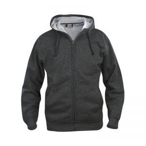 Basic fullzip hoody fra CLIQUE - blød kvalitet med lommer foran. Ses her i farven mørkegrå melange