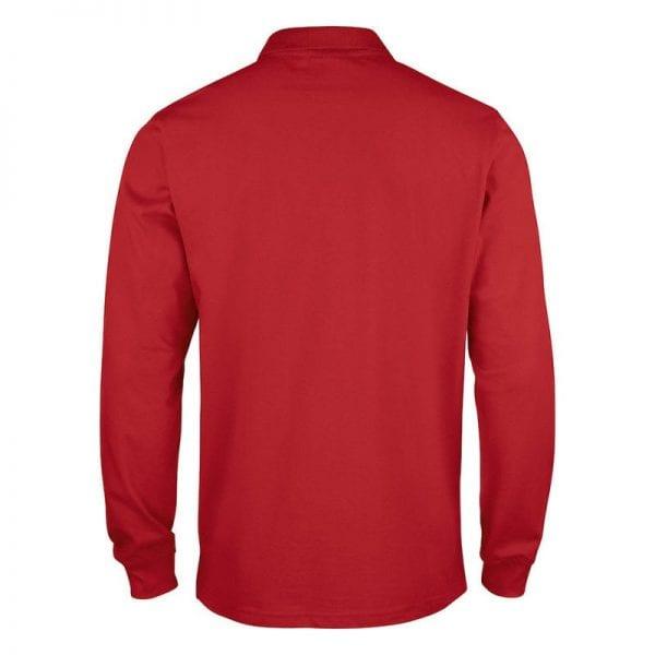Klassisk langærmet polo fra CLIQUE - Stilet & smart. Ses her bagfra i farven rød