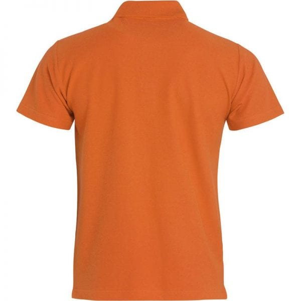 Basic polo t-shirt fra CLIQUE - slidstærk og god til dagligbrug. Ses her bagfra i farven orange