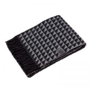 Georg Jensen Facet uld plaid tæppe - black