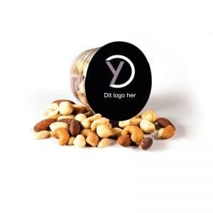 Reklame artikel med logo - snackbæger med nøddemix