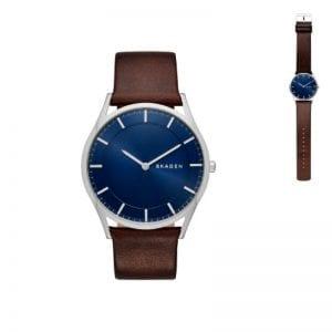 Skagen watch med blå urskive og brun læderrem