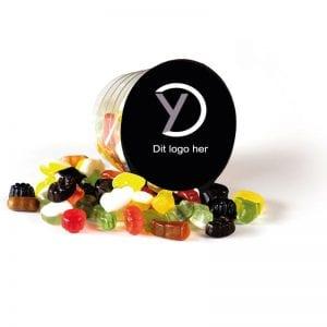 Reklame artikel med logo - snackbæger med click mix