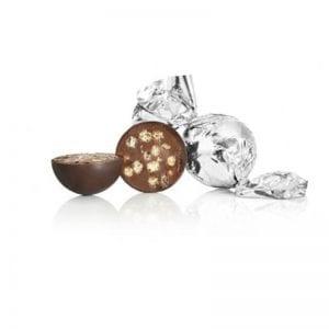 1 kg Fyldt Cocoture chokoladekugle i sølv mørk chokolade m/crisp
