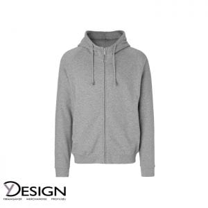 Grå unisex hoodie med gemt lynlås fra neutral