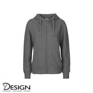 Mørkegrå dame hoodie med lynlås fra neutral