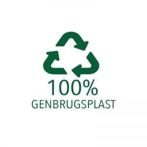 100% genbrugsplast til vand med logo