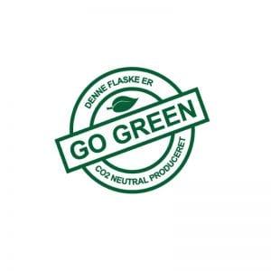 Go green C02 produceret mærke til vand med logo