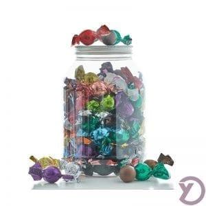30703000 Mix Af Fyldte Chokoladekugler I Plastbøtte 1,2 Kg fra Y-design