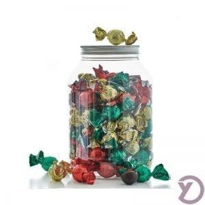 30705000 Mix Af Fyldte Chokoladekugler I Rød, Grøn Og Guld. 1,2 Kg.