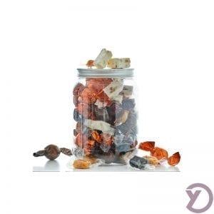 30707000 Mix Af Fyldte Chokoladekugler I Lysebrun, Mørkebrun, Orange, Fanske Nougat Og Karamelmix I Plastbøtte. 500g Kg. fra Y-design