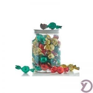 30708000 Mix Af Fyldte Chokoladekugler I Rød, Grøn Og Guld. 500g. fra Y-design