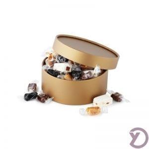 40201060 Fransk Nougat Og Mix Af Karameller I Guld Hatteæske. 300g. fra Y-design