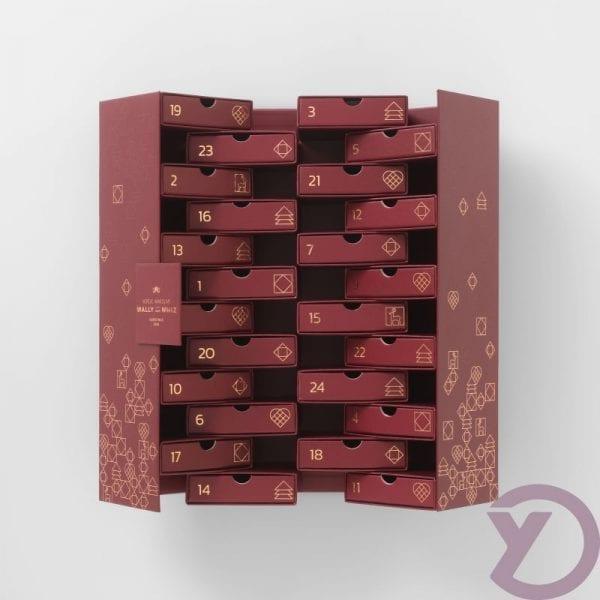 Wally & whiz julekalender 24 låger Burgundy fra Y-design nyhed