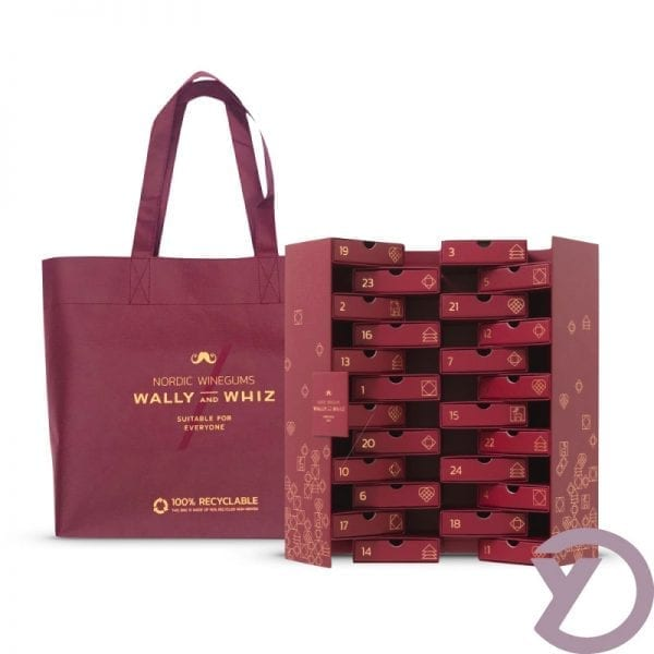 Wally & whiz julekalender 24 låger Burgundy fra Y-design