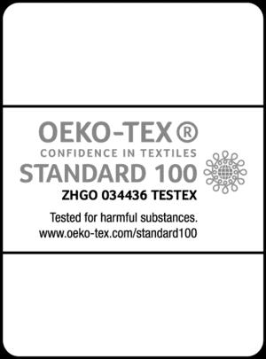 Dette er et billede af certifikatet for Oeko Tex Standard 100