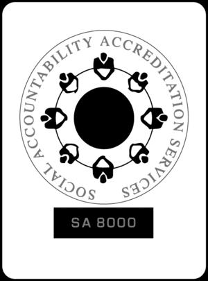Dette er et billede af certifikatet for Social Accountability Accreditation Service